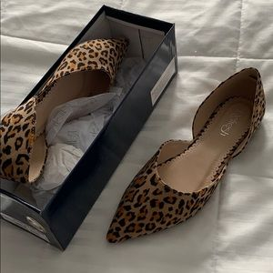 Brand New Leopard Animal Print Cut Out Flats